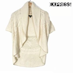 Express waterfall Collar Open Front Wool Cardigan